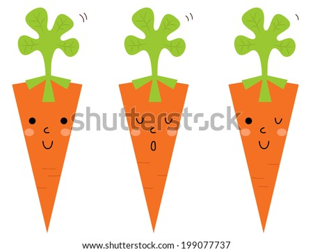 Beautiful cartoon Carrots set isolated on white - stock vector
