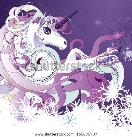 Beautiful cartoon white unicorn with decorative violet mane. - stock vector