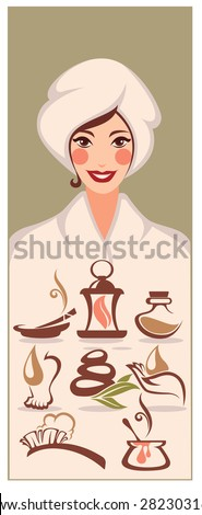beautiful cartoon woman and spa icons and emblems collection - stock vector