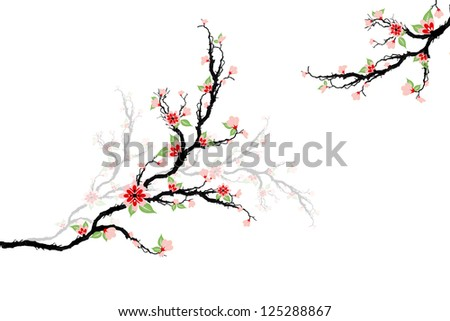 Beautiful cherry blossoms tree isolated on white - stock vector