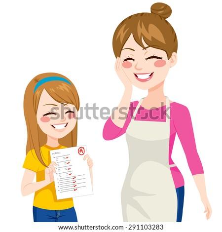 Beautiful child girl showing her happy mother good school grades - stock vector