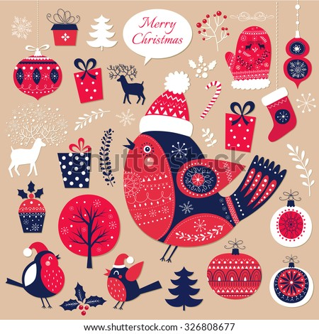 Beautiful Christmas collection of decorative traditional elements and symbols of Christmas. Ideal for print and decoration your holiday projects, tags, greeting cards and other prints - stock vector