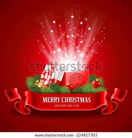 Beautiful Christmas poster with open and glowing magic gift box. Vector illustration. - stock vector
