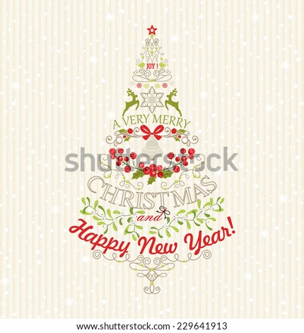 Beautiful Christmas tree in vintage style. - stock vector