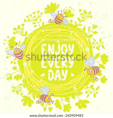 beautiful circle card with funny bees and place for text - stock vector