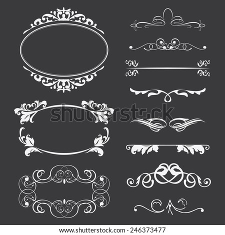 Beautiful Classic Frame and Decor Set - stock vector