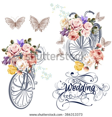 Beautiful collection of bicycles with realistic roses wedding set - stock vector