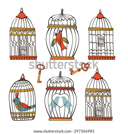 Beautiful collection of bird cages and little birds. Vector illustration - stock vector