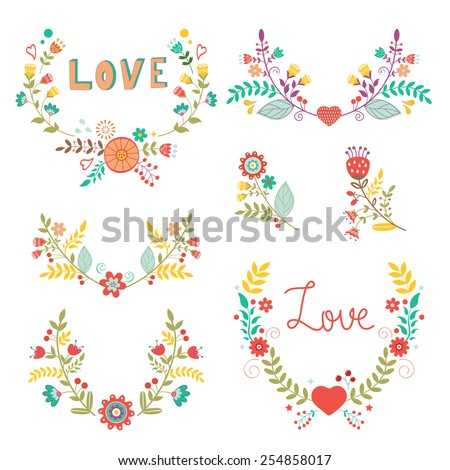 Beautiful collection of floral compositions. vector illustration - stock vector