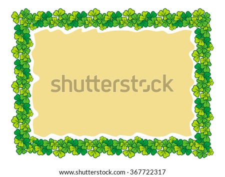 Beautiful color frame with clover - stock vector
