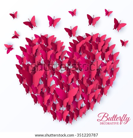 beautiful colorful butterfly heart on valintines day background concept. Vector illustration design. Template for website and mobile appliance - stock vector