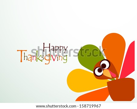 Beautiful, colorful cartoon of turkey bird for Happy Thanksgiving celebration, can be use as flyer, poster or banner.  - stock vector