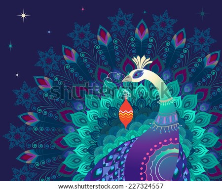 Beautiful colorful magic peacock bird holds christmas ornament. Dark blue background. Holidays concept. Perfect for greeting card or invitation. Vector EPS 10 illustration.  - stock vector