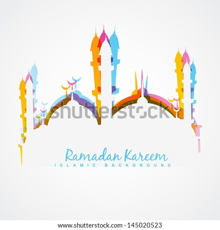 beautiful colorful ramadan kareem illustration - stock vector