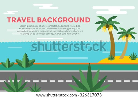 Beautiful colorful summer seascape illustration. Palm and sea beach. Winter vacation time. Grass palm tree sand sky, bananas, green landscape background. Summer view, road, palms and bananas. Exotic - stock vector