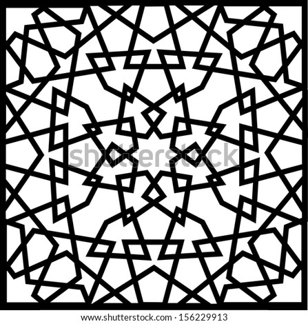 Beautiful complex eight (8) point ancient islamic star geometric pattern ornament. Notable building that implement this ornament include Al-Azhar Mosque (built in 972) hence the name Al Azhar Panel - stock vector