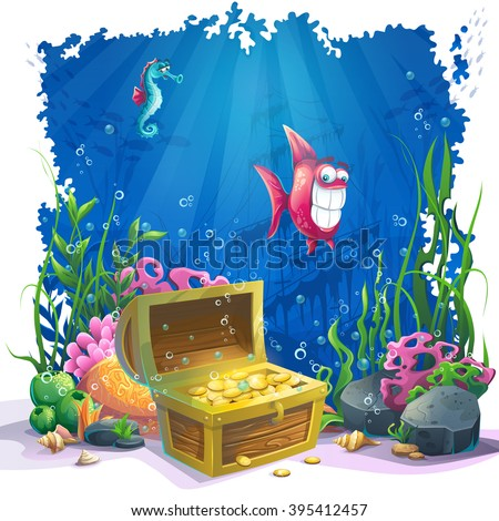 Beautiful coral and colorful reefs, fish and gold chest on sand. Vector illustration of sea landscape. - stock vector