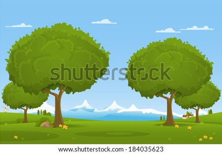 Beautiful country landscape. Vector illustration - stock vector