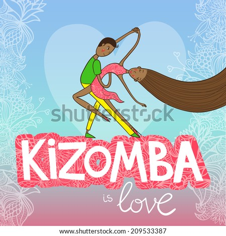 Beautiful couple of dancers kizomba on party poster in brazil's colors and with palms. Vector illustration. - stock vector