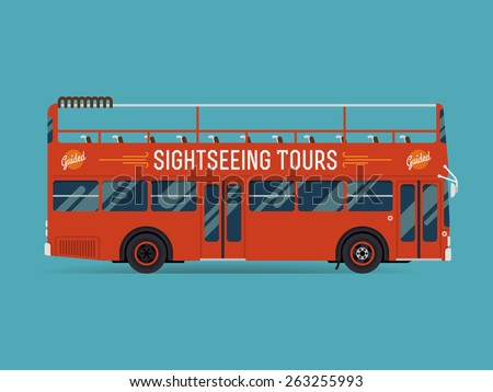 Beautiful creative flat design public transport web icon on double decker open top sightseeing city visiting bus, side view, isolated - stock vector