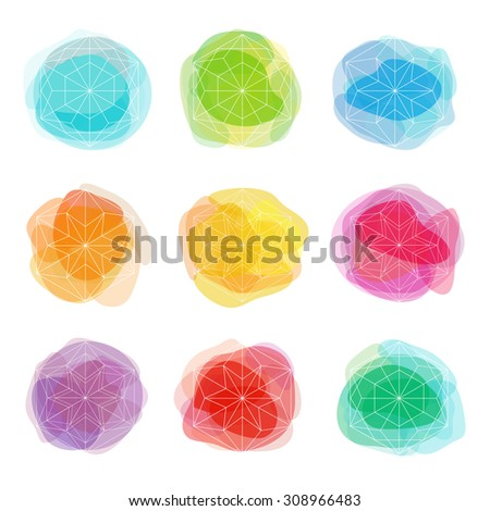 Beautiful crystal shapes. White snowflakes on colorful spots backgrounds. Watercolor effect circles. Winter holidays design elements. - stock vector