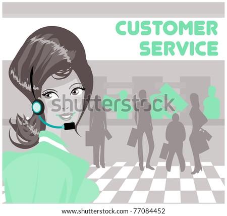 Beautiful customer service operator woman with headset - stock vector