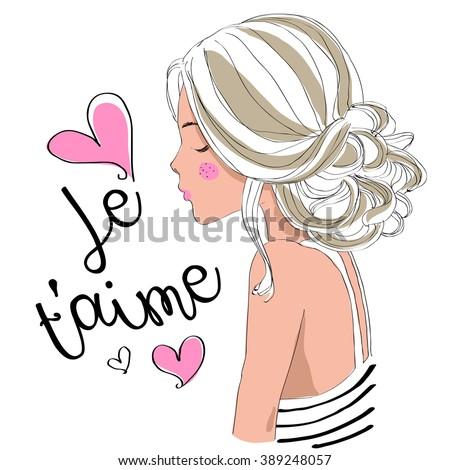 beautiful cute girl,je taime,i love you - stock vector