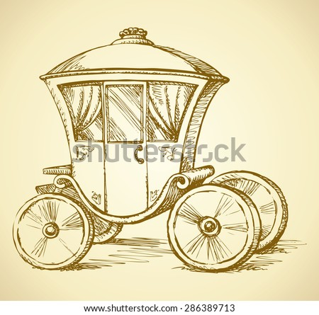 Beautiful cute romantic classic buggy gharry horse-drawn car with curtained window. Vector fairy tale freehand ink drawn gold background sketch in art antiquity style pen on paper with space for text - stock vector