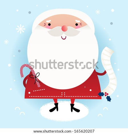 Beautiful cute Santa with delivery note on winter background - stock vector