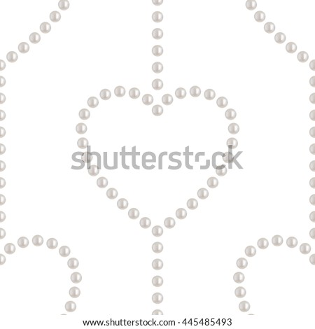 Beautiful 3D shiny natural White Pearl seamless pattern. Chains and hearts. Wedding theme. Valentines day symbolic. Abstract Background. Vector Illustration.  - stock vector