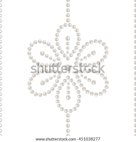 Beautiful 3D shiny natural White Pearl seamless pattern. Mosaic flowers. Wedding theme. Abstract Background. Vector Illustration.  - stock vector