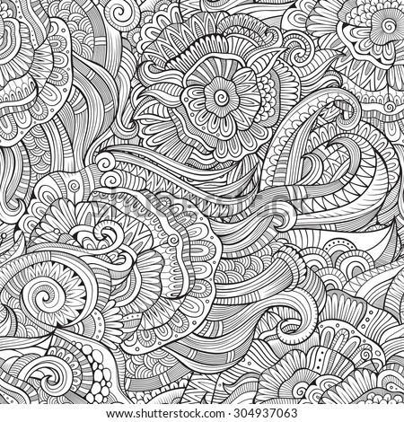 Beautiful decorative autumn floral ornamental sketchy seamless pattern - stock vector