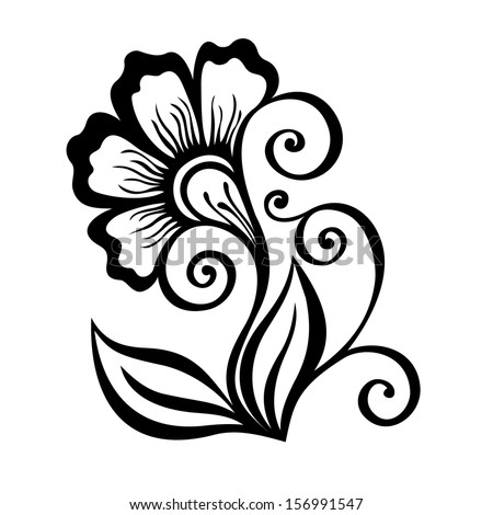 Beautiful Decorative Flower with Leaves (Vector), Patterned design - stock vector