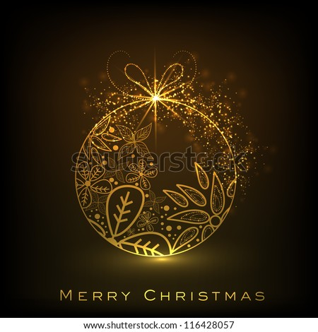 Beautiful decorative shiny Xmas ball for Merry Christmas celebration. EPS 10. - stock vector