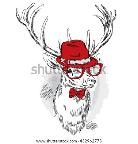 Beautiful deer in a hat, sunglasses and a tie. Vector illustration for a card or poster. Print on clothes and accessories. - stock vector