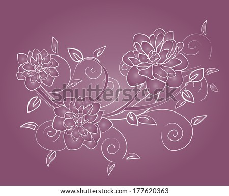 beautiful delicate flowers on purple background - stock vector