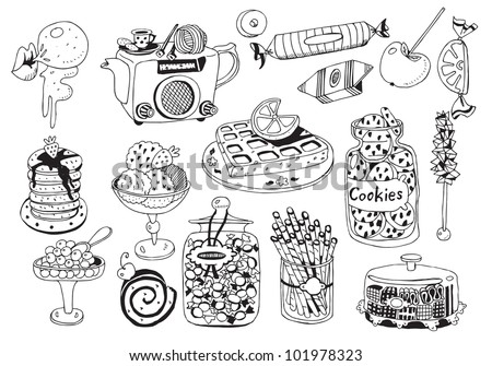 Beautiful Dessert Plates Collection ( Vector) - stock vector