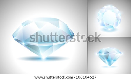 Beautiful diamond (vector set) - stock vector