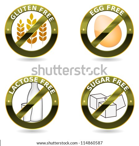 Beautiful diet icons. Gluten free, lactose free and egg free. Can be used as a stamp, emblem, seal, badge, on a packaging etc. Beautiful harmonic colors and elegant design. - stock vector