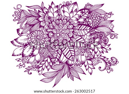 Beautiful doodle art flowers. Zentangle floral pattern. Hand drawn herbal design elements - stock vector