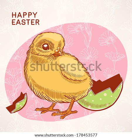 Beautiful easter card with yellow chicken on a pink background with chamomiles  - stock vector