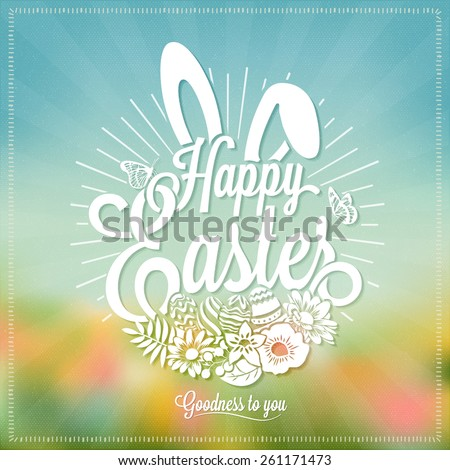 Beautiful Easter Typographical Background With Rabbit And Flowers - stock vector