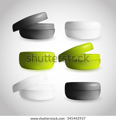 Beautiful Ecologic Cream box in three variations. Eco green, white and black colors. Product packaging. Mock up for design.  - stock vector