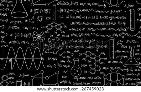 Beautiful educational chemistry vector seamless pattern with plots, formulas and laboratory equipment. Scientific background. Endless texture - stock vector