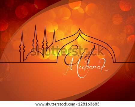 Beautiful Eid Mubarak Card Design with Nice, colorful Mosque and abstract Background, Eps 10 - stock vector