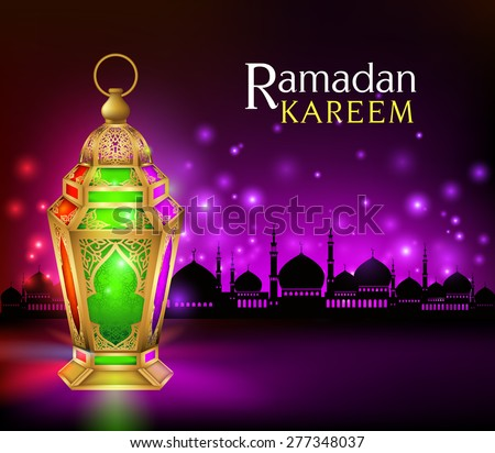 Beautiful Elegant Ramadan Kareem Lantern or Fanous in Gold With Colorful Lights in Silhouette Mosque Background for the Holy Month Occasion of fasting. Editable Vector Illustration - stock vector