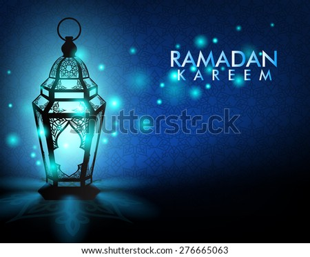 Beautiful Elegant Ramadan Kareem Lantern or Fanous With Lights in Night in Background Islamic Pattern for the Holy Month Occasion of fasting. Editable Vector Illustration - stock vector