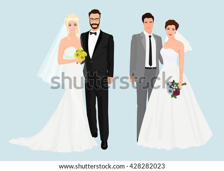 Beautiful elegant Wedding love couples collection set isolated. - stock vector