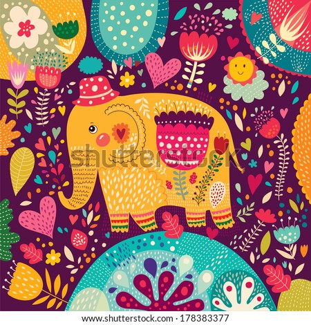 Beautiful elephant with colorful pattern. - stock vector