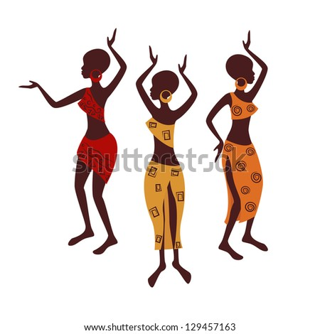 Beautiful ethnic women traditionally dancing. Vector illustration isolated on white background. - stock vector
